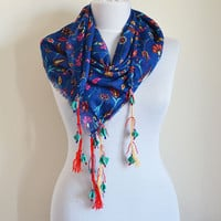 Square Scarf, Women Accessories, Scarves, Turkish Tulip Pattern, Women Scarves