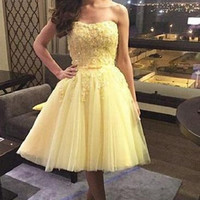 Yellow Sweetheart Tulle Strapless Applique Homecoming Dress
