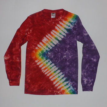 Tie Dye Rainbow Zig-Zag Long Sleeved T-Shirt