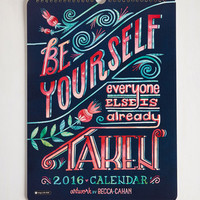 Rustic Day, Month, Cheer 2016 Wall Calendar by ModCloth
