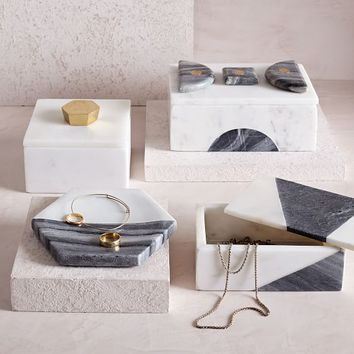 Geo Marble Boxes + Dish