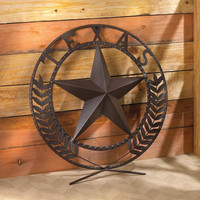 "Round Metal Texas Lone Star 25"" Wall Plaque Country Home Decor"