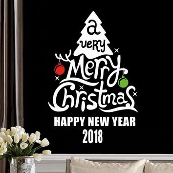 New Year 2018 Merry Christmas Tree Window Wall Stickers PVC Wall Decals Festive Xmas Party Family Home Decor Wall Decoration