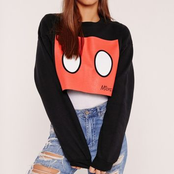 Missguided - Mickey Mouse Slogan Cropped Sweat Black