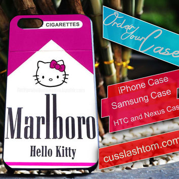 Exclusive Marlboro Hello Kitty iPhone for 4 5 5c 6 Plus Case, Samsung Galaxy for S3 S4 S5 Note 3 4 Case, iPod for 4 5 Case, HtC One M7 M8