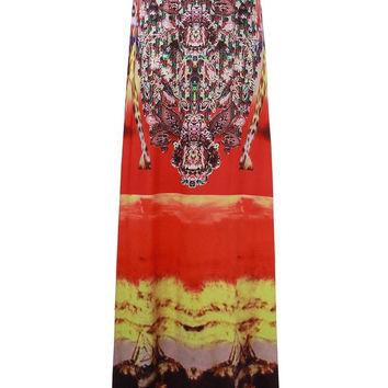 Ethnic Style Women Printed Elastic Waist Beach Floral Fitted Maxi Skirt
