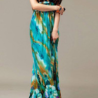 Green Halter Floral Print Maxi Dress