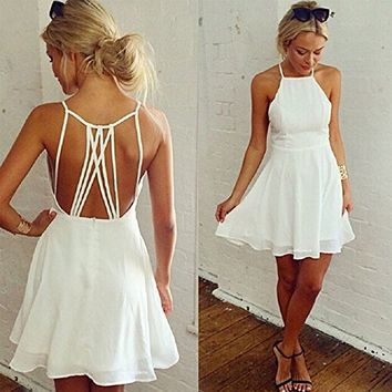 Coromose Girls Summer Cute White Backless Mini Hollow Girl Chiffon Beach Sexy Dress