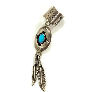 Sterling Turquoise Ear Cuff, Native American Ear Cuff, Navajo Shadow Box, Feather Motif, Southwestern Jewelry, Boho Jewelry, Vintage