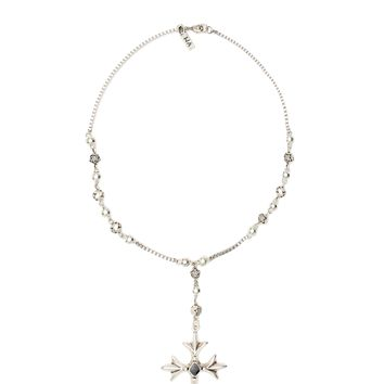 Vanessa Mooney - Sheena Cross Necklace Rosary - Silver