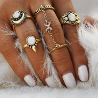 To The Moon & Back Five Piece Stackable Boho Ring Set