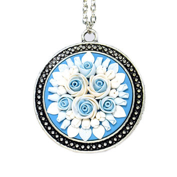 "Polymer Clay Applique Floral Pendant Necklace  ""Snowflake"" Feminine Jewelry Floral Jewelry New Year Gift Bridal Necklace Gift for Bride"