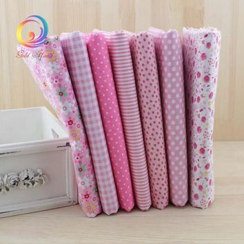 Pink 7pcs Thin Cotton Fabric Patchwork For Sewing Scrapbook Cloth Fat Quarters Tissue For Quilt Needlework Pattern 50cm*50cm