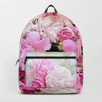 summer peonies Backpack by sylviacookphotography