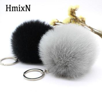 VONETDQ Big faux leather 8CM Fur Pom Pom KeyChain Rabbit Hair Bulb Bag Fur pompom Ball key chain Pendant poret clef for women key ring