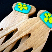 Teal and Lime Flower Bamboo and Glass Salad Tongs