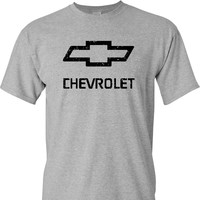 Chevy Chevrolet Logo Distressed Vintage Print on a Sport's Grey T Shirt