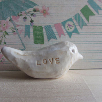 Polymer Clay Hand Carved Faux Wood Rustic Bird Figurine Sculpture Ornament, Love Message, Birthday Present, Valentines Mother's Day Gift