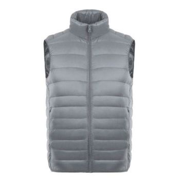 Man Thin Light Waistcoat Vest Down Coat Plus Size   light grey