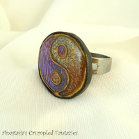 Yin yang purple yellow orange gold polymer clay ring, Faux Cloisonne, Taijitu chinese symbol, Good evil, Boho jewelry, Taoism balance