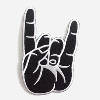 Black Color Rock and Roll Hand Sign New Iron On Patch Embroidered Applique Size 6.1cm.x9.9cm. #
