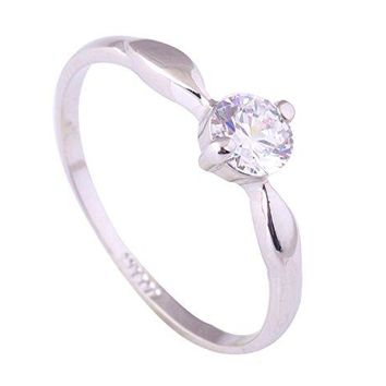 Acefeel Fashion Simplicity White Gold Plated Clear Cubic Zirconia Promise Engagement Wedding Ring R041