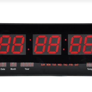 Wall Mount Digital Clock LED Electric Modern Day Date Calendar