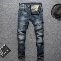 Fashion Simple Slim Pants Ripped Holes Jeans [748306104413]