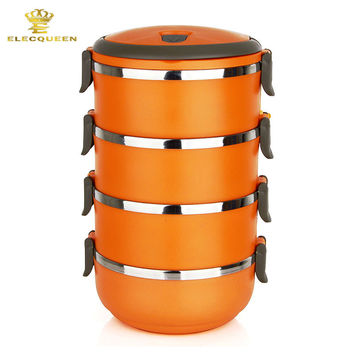 4 Layers Stainless Steel Thermal Bento Lunch Box Thermos Insulation Storage food Container 2800ML