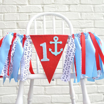 Nautical Birthday Party - 1st birthday banner - birthday banner - nautical 1st birthday - nautical 1st birthday banner - 1st birthday prop