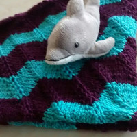 Chevron Baby Blanket, Blue and Purple Baby Blanket, Baby Shower