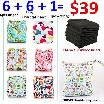 [Mumsbest] Cloth Diaper Cover Bamboo Velour Fitted Diaper Washable Brand Babies Nappy Cute Girl Print Reusable Couche Lavable