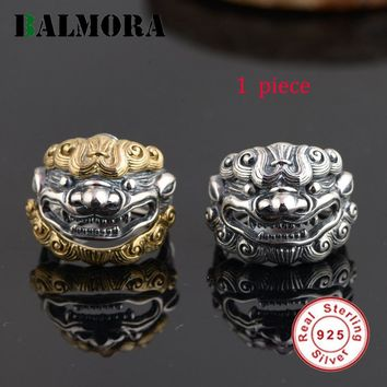 BALMORA 925 Sterling Silver Jewelry Silver & Gold Chinese Unicorn Rings for Men Mythical Wild Animal Thai Silver Ring SY21810