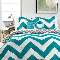 Chevron Teal 5 Piece Comforter Sets