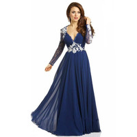 Long Sleeve Prom Dress,Blue Prom Dresses,Long Evening Dress