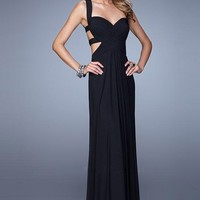 La Femme 21160 Sweetheart Open Back Long Black Prom Dress