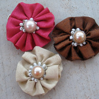 Set of 3 Ruched Fabric and Pearl Fascinators