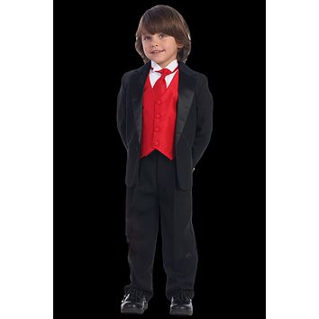 Single Button Dinner Jacket Tuxedo with Vest & Necktie in Black, White or Ivory (Boys 3 months - size 14)