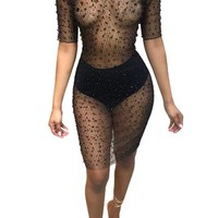 Black Sexy Mesh See Through Club Dress