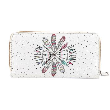 White Feather Print Faux Leather Clutch Wallet Bag Accessory
