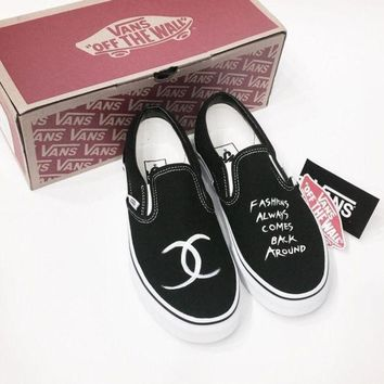 VANS x CHANEL Slip-On Black/White Canvas Sneakers