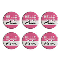 Mimi Hello My Name Is Plastic Resin Button Set of 6