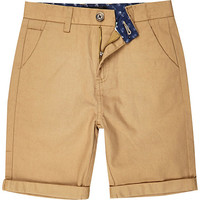 River Island Boys light brown chino shorts