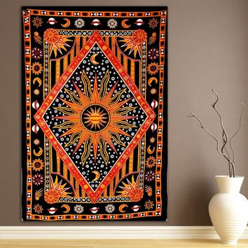 Deep Gold Burning Sun Bohemian Boho Wall Beach Bed Tapestry