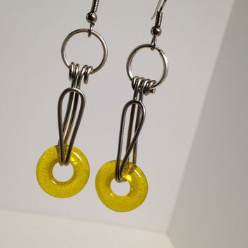 Golden Yellow Dangle Drop Earrings / Fused Glass Beads / Donut Beads / Handmade Jewelry / Handmade Glass Beads / Geometric