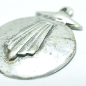 1 Piece Matte Silver Tribal Pendant, Matte Silver Charm, Tribal Jewelry Finding, Abstract Jewelry Findings