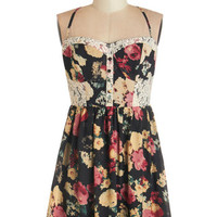 ModCloth Vintage Inspired Spaghetti Straps A-line Fun and Card Games Dress