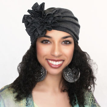 Charcoal Gray Flower Turban