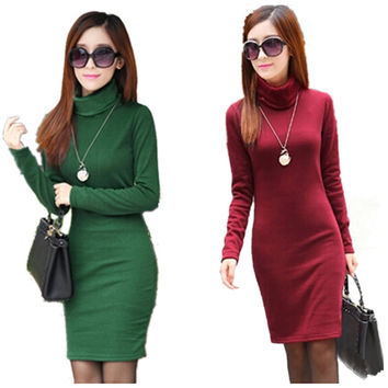 Winter Dress Fleeces Thicken Warm Dresses For Women Turtleneck Solid Dress Feminino Casual Long Sleeve Vestidos L8283