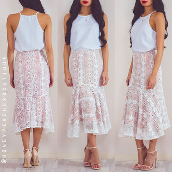 My Heart Is Yours Midi Lace Skirt - White